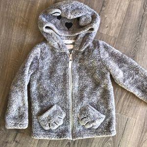 H&M Grey bear fuzzy jacket